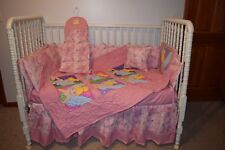 CRIB BEDDING SET MADE/W PINK & TINKERBELL FACES  FABRIC