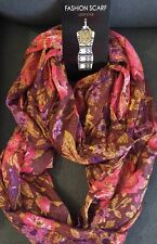 Fall Fashion Scarf Loop Style. NWT 100% Polyester Red Gold Pink Purple