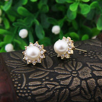 Elegant Fashion Women Gold Plated Crystal Rhinestone Pearl Ear Stud Earrings HOT
