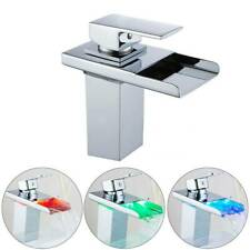 Waterfall LED RGB Bathroom Taps Basin Mono Mixer Bath Tap Single Lever Faucet