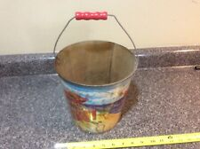 1940's (?) U.S. Metal Toy Mfg. Co. Sand Pail Pirate Treasure Chest Wood Handle