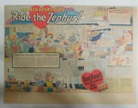 Red Heart Dog Food Ad: Red Heart Pups Ride The Zephyr! 1939 Size: 11 x 15 inches
