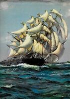 "Sailing Ship, Ocean, ""Full Sail Ahead"", Made In USA, Salesman Sample Print 1940s"