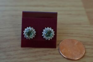 1.74ct Natural Green Sapphire /Zircon Earrings Platinum over Fine Silver