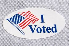 """500 PEICE, I VOTED, ELECTION LABEL STICKER  ROLLS 3/4"""" X 1 1/2"""" OVAL"""