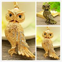 Shiny Owl Rhinestone Keychain Owle Crystal Handbag Purse Ornament Keyring
