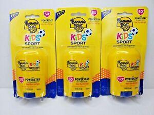 Lot of 3 Banana Boat Kids Sport .5 Oz Sunscreen Stick SPF 50+ New EXP 11/22
