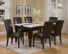 Good WH/BK FAUX MARBLE DINING TABLE W/P2   16550