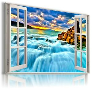 DRAWING WATERFALL CASCADE 3D Window View Canvas Wall Art Picture  W284  MATAGA
