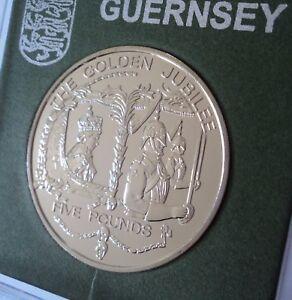 2002 Guernsey Golden Jubilee of Queen Elizabeth II £5 Crown Coin BU UNC in Case