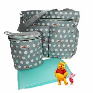 FAB WINNIE THE POOH  GREY UNISEX BABY CHANGING BAG, BOTTLE BAG AND CHANGING MAT