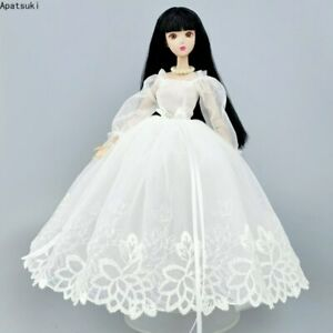 """Pure White Handmade Princess Wedding Dress For 11.5"""" Doll Clothes Outfits 1/6"""