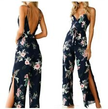 Women Sexy Backless Floral Printed Jumpsuit Beach V Neck Fashion Sling Rompers D