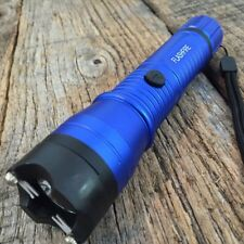 Blue MONSTER Metal Stun Gun 16 Million Volt Rechargeable LED Flashlight New! K
