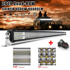 9D Quad Row 50inch 4000W LED Light Bar Combo Offroad Boat Driving Truck SUV 52''
