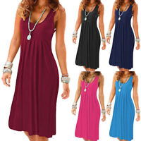 Womens Sleeveless Sundress Lady Summer Beach Casual Cocktail Party Mini Dress AB