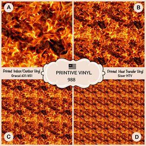Fire Flame Patterned HTV, Iron on Vinyl,Heat Transfer Vinyl, Adhesive Vinyl  988