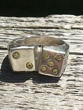 Dice Pinky Ring 925 Sterling Silver SZ 7.5 Lucky 7. Mens Pinky Ring?