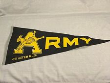 Vintage Army Go Get Em Mule Felt Pennant West Point Black & Yellow