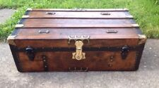 Trunks-n-Treasures BEAUTIFUL  Refinished Antique Flat Top  Trunk Chest