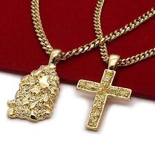 "Men's 14k Gold Plated High Fashion 2 pc Nugget & Cross 3mm 30"" & 24"" Cuban Chain"