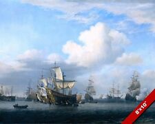 CAPTURED MEN OF WAR SHIPS NAVAL PAINTING ANGLO DUTCH WAR ART REAL CANVAS PRINT