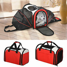 Foldable Soft-Sided Pet Carrier 2-Side Expandable Travel Bag for Dogs and Cats