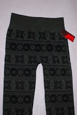c8821bcfa2045 Junior Womens Leggings DK GREEN & BLACK Fleece Lined SNOWFLAKES Sho Sho S-M