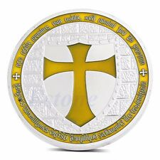 Silver Plated Knights Templar Europe Yellow Cross Token Souvenir Coin Collection