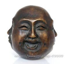 Détails sur visages Excellent old bronze sculpté statue 4 Visage Humeur bouddha 6 cm