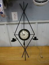 """Vintage Black Metal MCM Wall Clock & Candle Holders Electric 29 1/2"""" Tall"""
