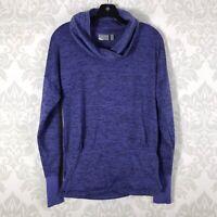 Athleta Blue Heathered Cowl Neck Pullover Pocket Size XS