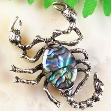 Carved Tibetan Silver Natural Abalone Shell Scorpion Brooch