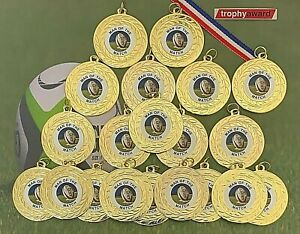 20 x Gold Rugby Man of the Match Medals +  FREE Ribbons