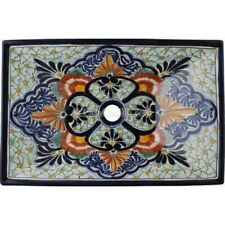 Mexican Talavera Vessel Sink Rectangular Handmade Ceramic VSR12
