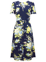 Warehouse Midi Dress Size 10 12 14 Navy Blue Floral Short Sleeves New