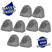 "Theater Solutions Full Range Outdoor Granite Rock 8 Speaker Set with 8"" Woofers"