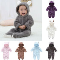 Newborn Baby Toddler Boys Girls Romper Hooded Bodysuit Jumpsuit Clothes Outfits