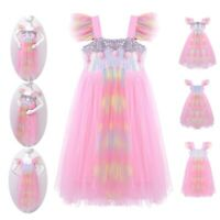 Girls Princess Tutu Dress Kids Fancy Dresses Sparkly Sequins Halloween Costume