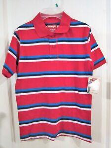 Boy's Polo Shirt Red, White & Blue Striped - Large (10-12) 'Wrangler' NWT