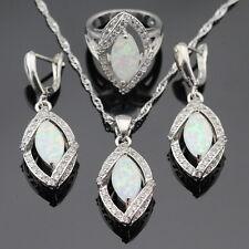 Sterling Silver 925 Fire Opal Eye Topaz Necklace Earrings set Ring Size 8 P