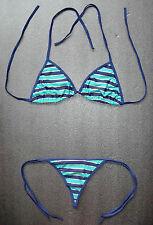 Sexy Blue & Gold G-STRING BIKINI Ladies Swimming Costume 2 Piece Thong Swimsuit