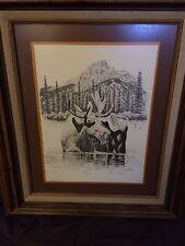 """DAN ANDREWS Vintage Signed Numbered Wildlife Lithograph """"Foraging"""" Alaska Moose"""
