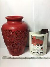 Japanese Lacquerware Vermillion Crimson Red Hand Carved Lacquer Vase. 6.75