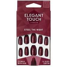 Elegant Touch After Dark-Acero la noche clavos falsos + Pegamento + memoria intermedia (24 Pack)