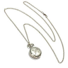 Silver Quartz Butterfly Arabic numerals Pocket Watch with Vintage Necklace J6R9