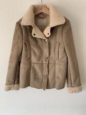 Girls Zara Age 9-10 Beige Coat Jacket Fur Lined