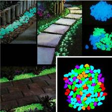 100pcs Bunt Leuchtsteine Leuchtkiesel Solarsteine Nachtleuchtend Garten Dekor