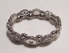 Silver Plated Elastic Petite Button Snaps Bracelet - Fits 12mm Ginger Brands