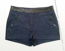 NEW LOOK navy blue black Houndstooth faux leather waist Hot pants Shorts 10 W30